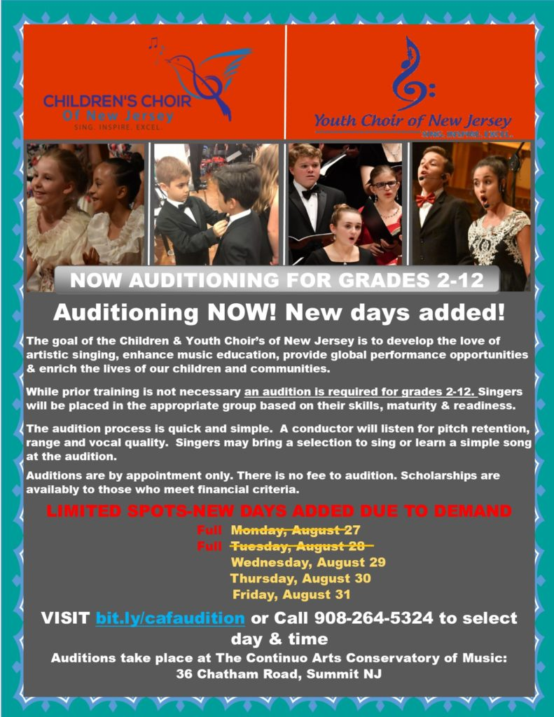Auditions for the Youth Choir of New Jersey's 2018-2019 Season