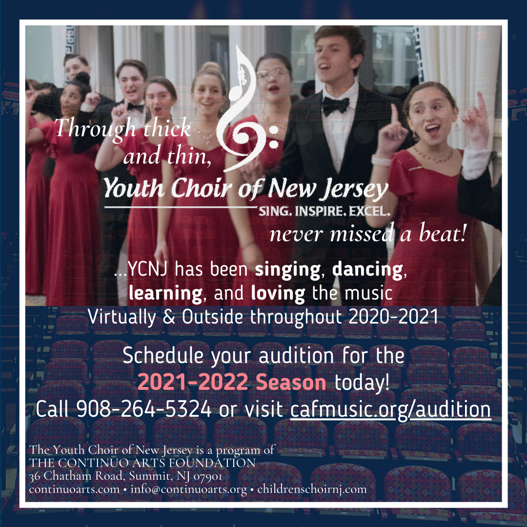 Audition for the Youth Choir of New Jersey's 2021-2022 Season Today!